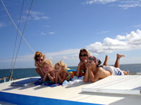 children on the Catamaran